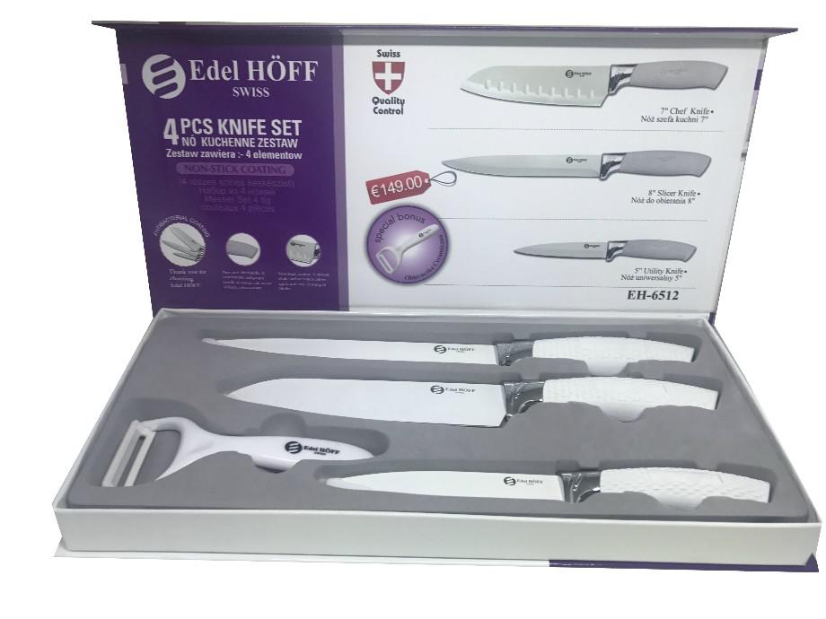 set de 4 couteaux de cuisine suisse id al cadeaux conome en c ramique edel hoff blanc. Black Bedroom Furniture Sets. Home Design Ideas
