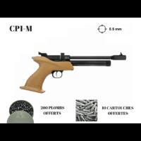 Pistolet KANDAR CP1-M 9 coups calibre 5.5 mm MANCHE BOIS 250 plombs offerts + 10 co2