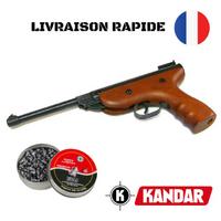 CARABINE PISTOLET PLOMBS 5,5 mm KANDAR + BOITE DE 200 PLOMBS 990G S2 BOIS DE QUALITE !!