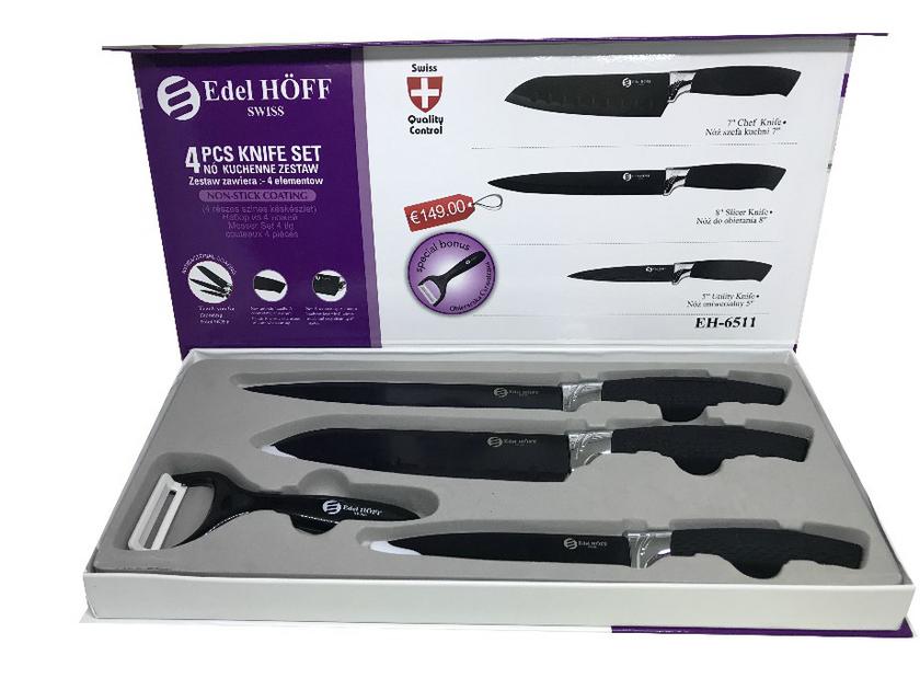 Set De 4 Couteaux De Cuisine Suisse Ideal Cadeaux Econome En Ceramique Edel Hoff Noir