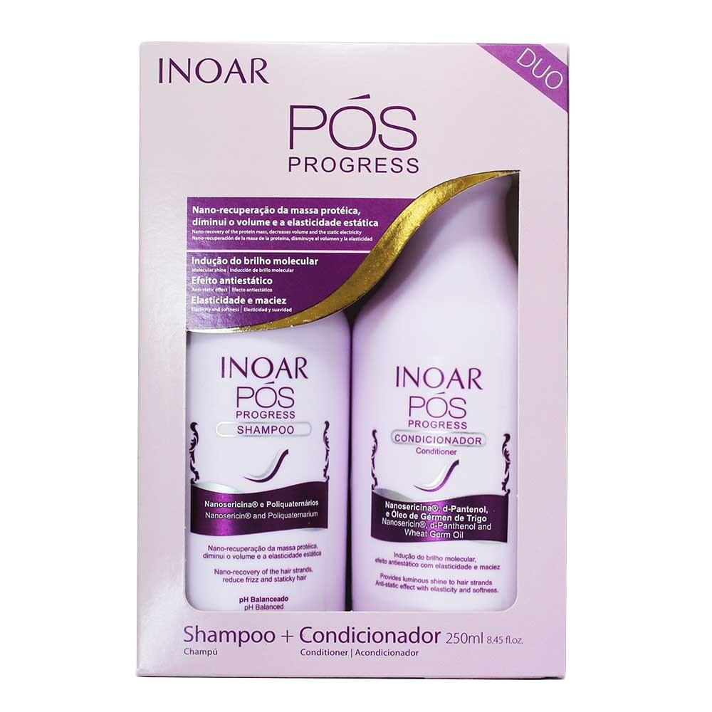 Inoar Pos Progres - Kit Entretien Lissage brésilien - Shampoing + Conditionneur - SANS SLS - SANS SELS - SANS PARABENS