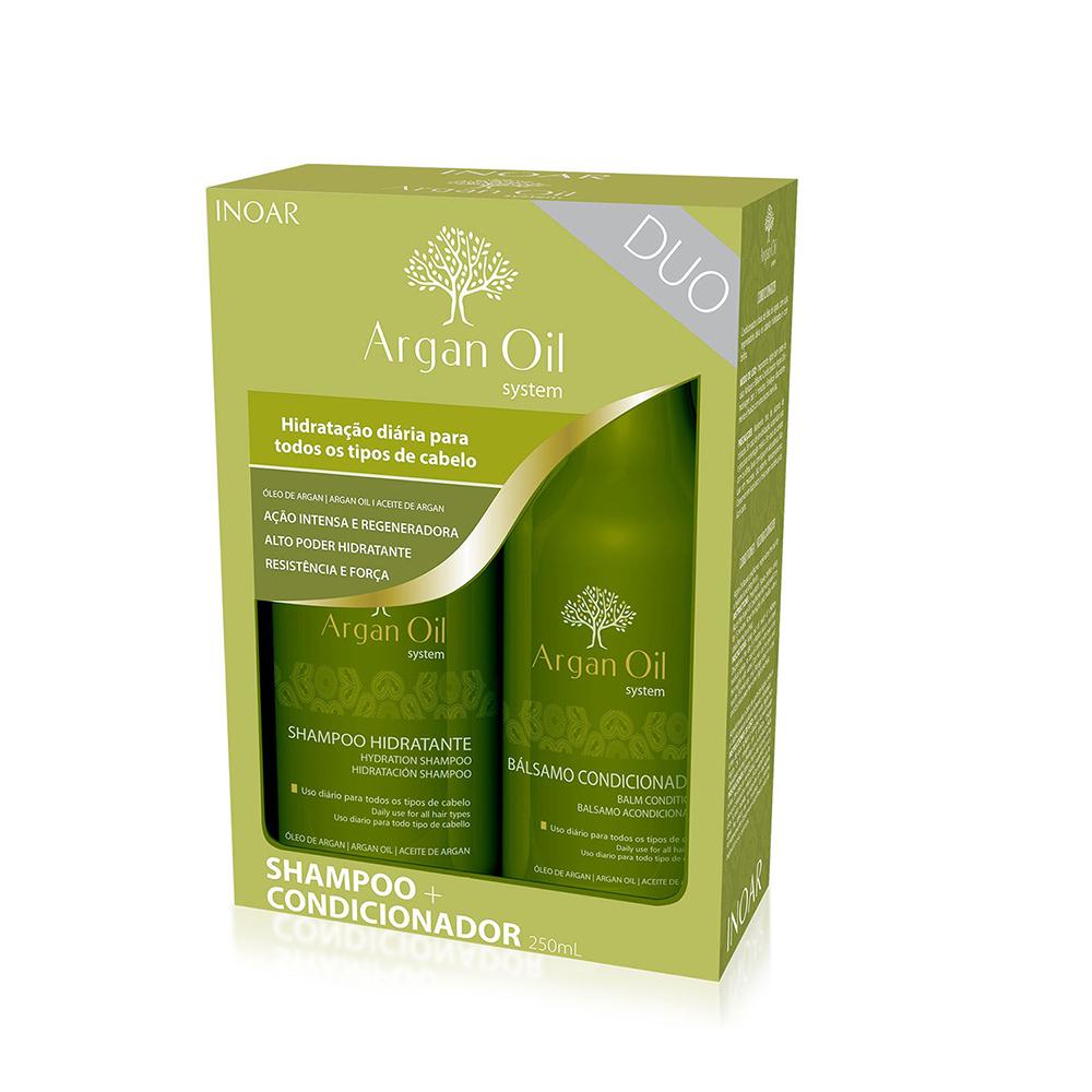 Inoar Argan Oil - Kit Entretien Lissage brésilien - Shampoing + Conditionneur - SANS SLS - SANS SELS - SANS PARABENS