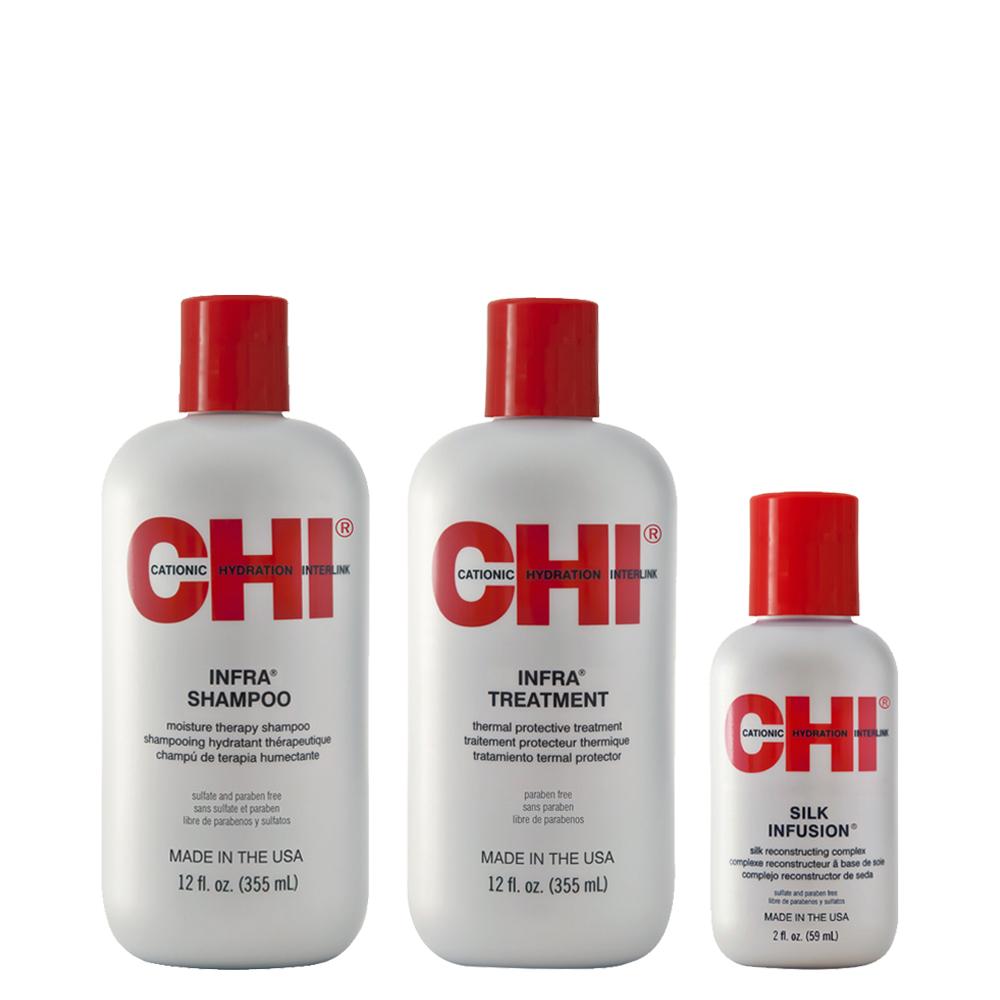 CHI INFRA - Kit Entretien Lissage - Shampoing et Après-Shampoing + 1 Soin à Base de Soie