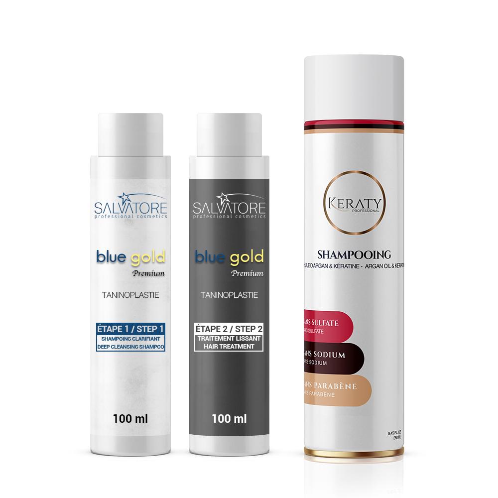 Salvatore Blue Gold Premium - Lissage au Tanin - Taninoplastie - Kit 2 x 100 ml + 1 Shampoing Keraty
