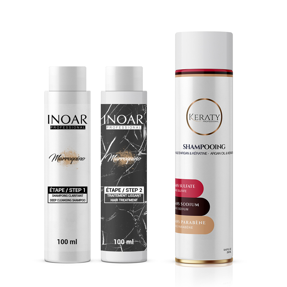 Inoar Marroquino - Kit Lissage Brésilien - 2 x 100 ml + 1 Shampoing Sans Sulfate 250 ml