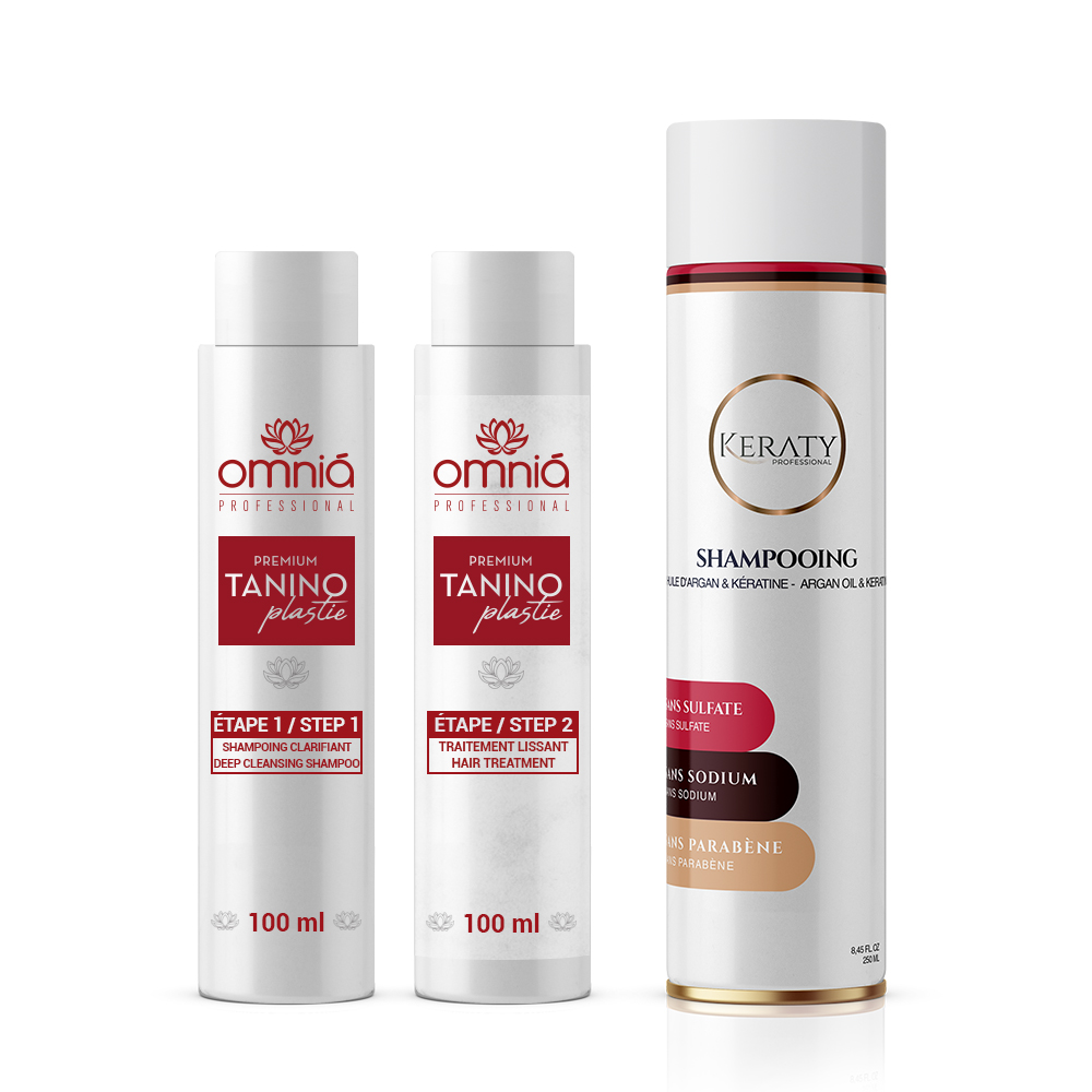 Omnia Professional - Lissage au Tanin - Taninoplastie - Kit 2 x 100 ml + 1 Shampoing Keraty