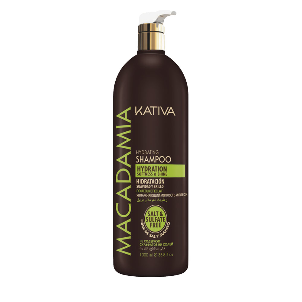 KATIVA - Macadamia - Shampoing Hydratant - Souplesse et Brillance - 1000ml