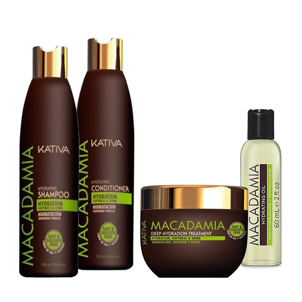 KATIVA - Macadamia - Shampooing 250 ml + Conditionneur 250 ml + Masque 250 ml + Sérum 60 ml