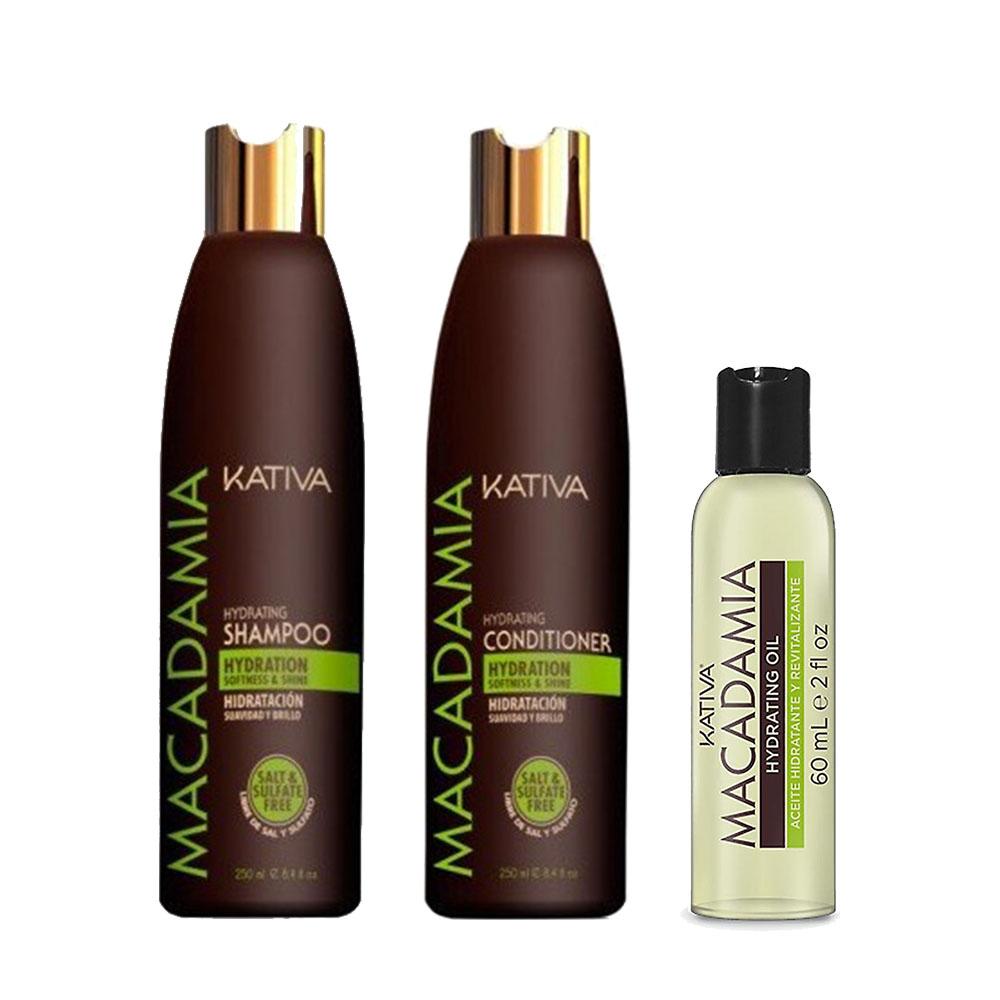 KATIVA - Macadamia - Shampooing 250 ml + Conditionneur 250 ml + Sérum 60 ml