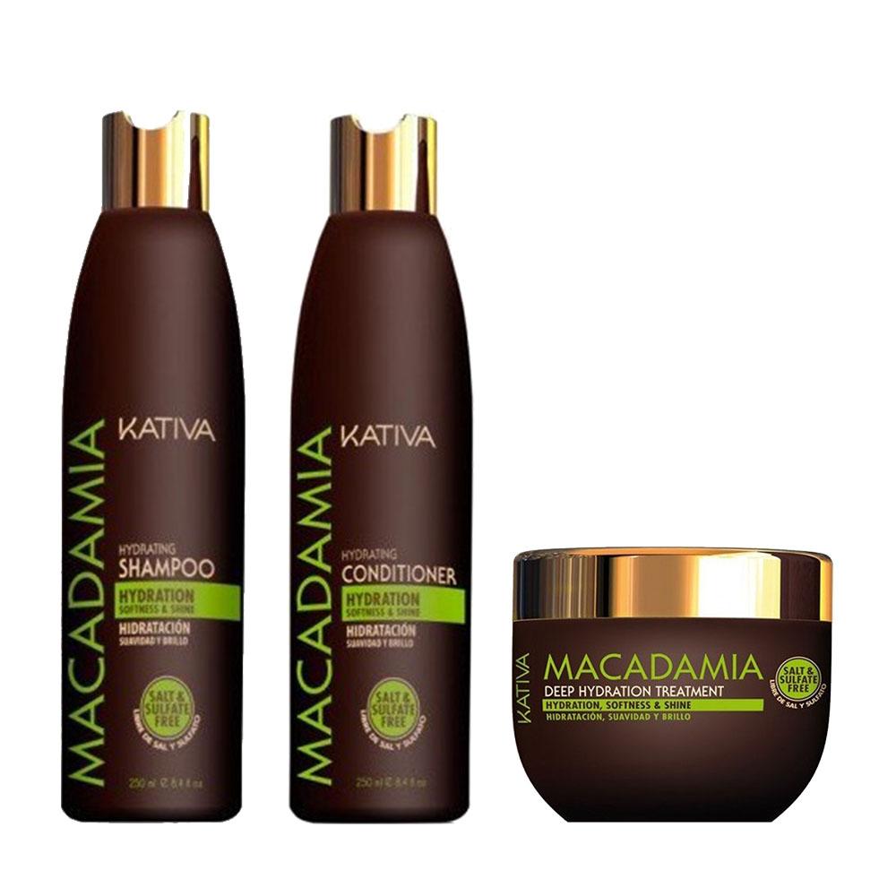 KATIVA - Macadamia - Shampooing 250 ml + Conditionneur 250 ml + Masque 250 ml