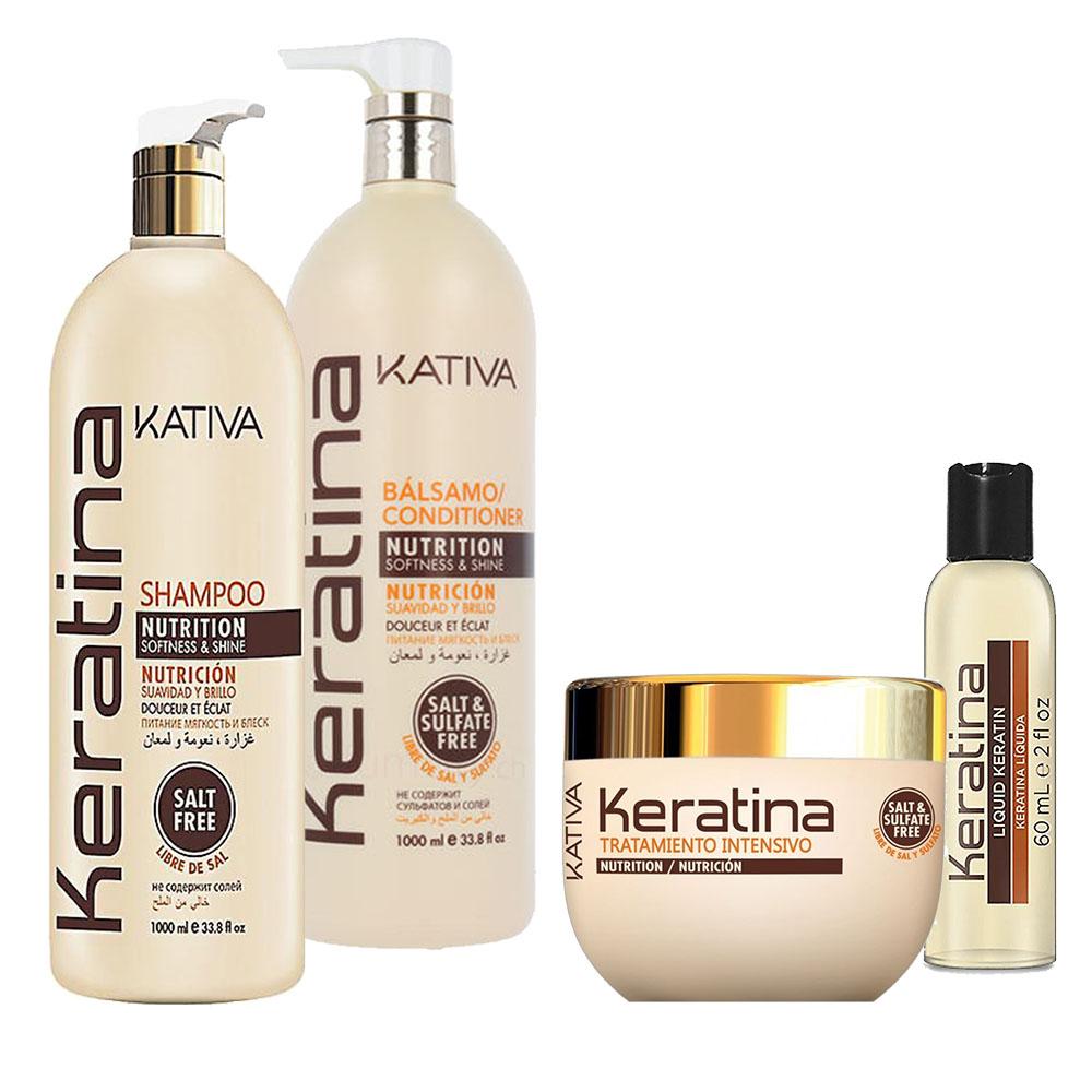 KATIVA - Keratina - Shampooing 1L + Conditionneur 1L + Masque 250 ml + Sérum 60 ml
