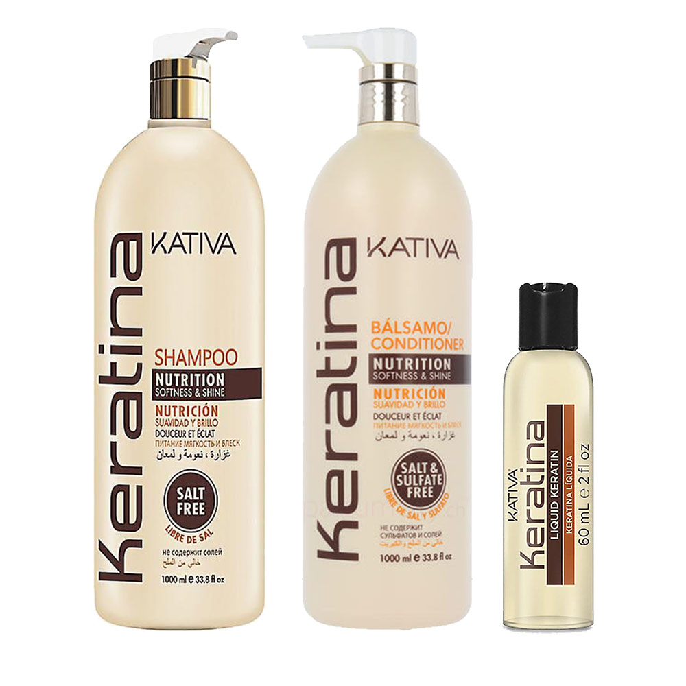 KATIVA - Keratina - Shampooing 1L + Conditionneur 1L + Sérum 60 ml
