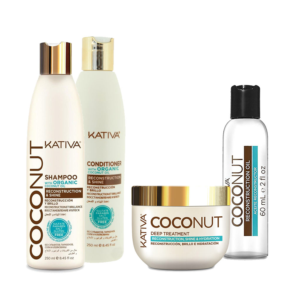 KATIVA - Coconut - Shampooing 250 ml + Conditionneur 250 ml + Masque 250 ml + Sérum 60 ml