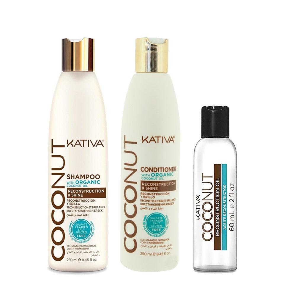 KATIVA - Coconut - Shampooing 250 ml + Conditionneur 250 ml + Sérum 60 ml