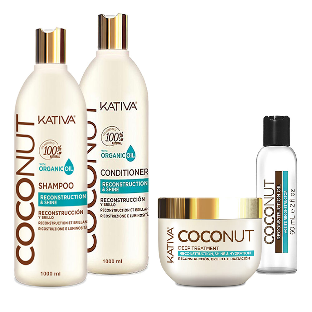 KATIVA - Coconut - Shampooing 1L + Conditionneur 1L + Masque 250 ml + Sérum 60 ml