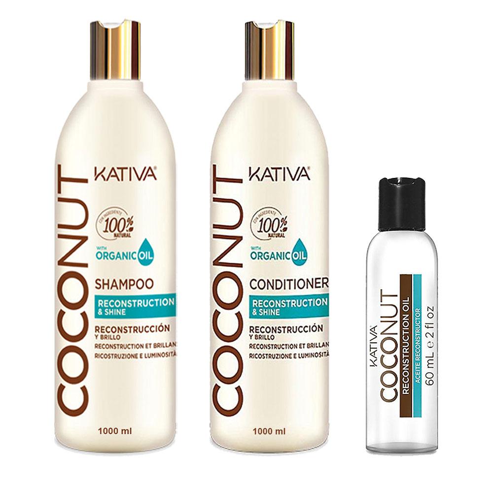 KATIVA - Coconut - Shampooing 1L + Conditionneur 1L + Sérum 60 ml