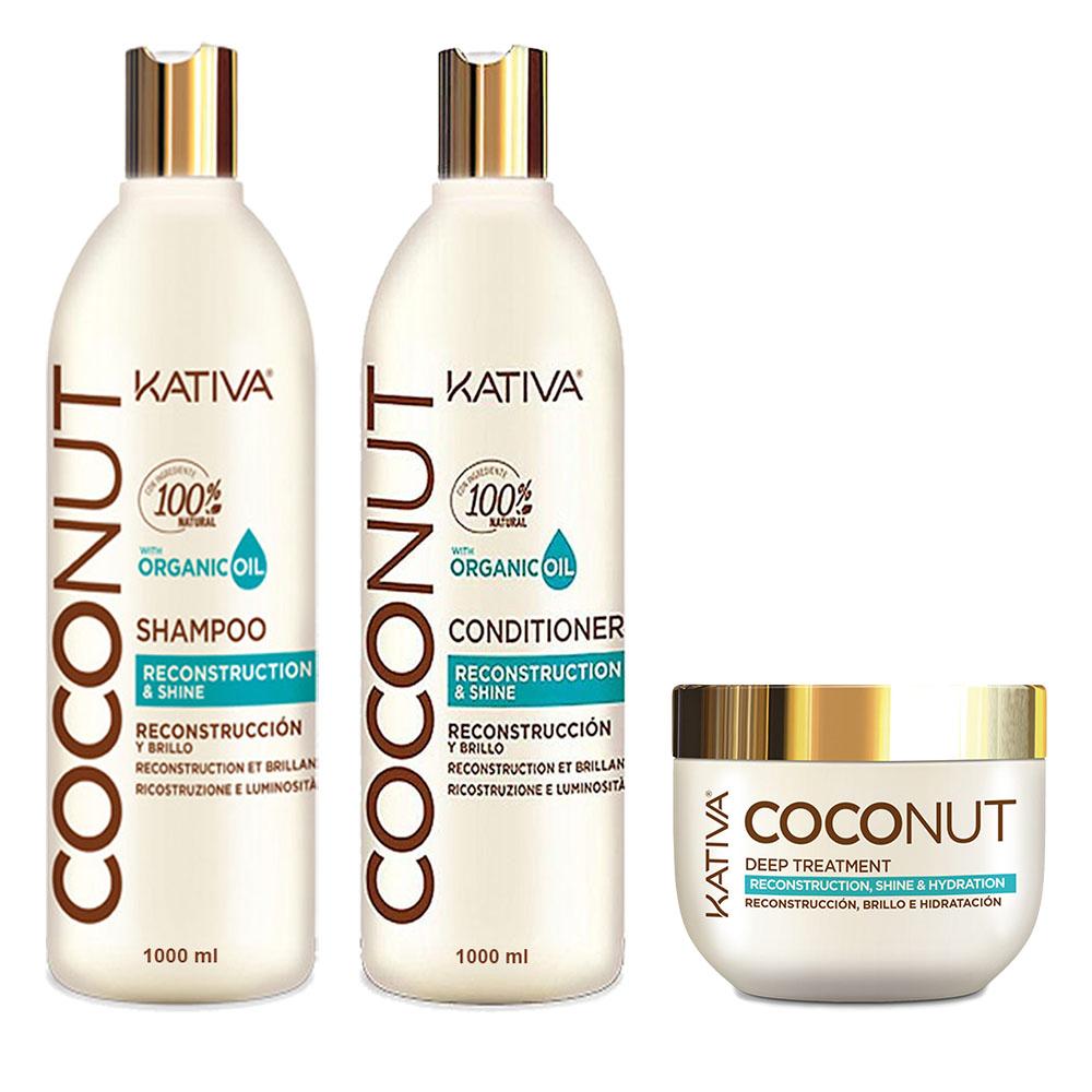 KATIVA - Coconut - Shampooing 1L + Conditionneur 1L + Masque 250 ml