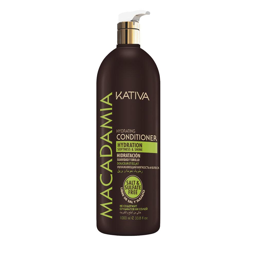 KATIVA - Macadamia - Conditionneur Hydratant - Souplesse et Brillance - 1000ml