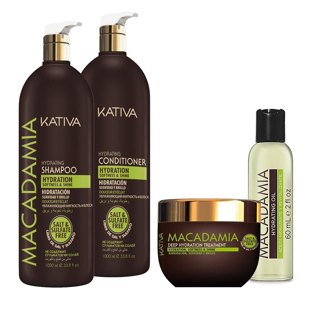 KATIVA - Macadamia - Shampooing 1L + Conditionneur 1L + Masque 250 ml + Sérum 60 ml