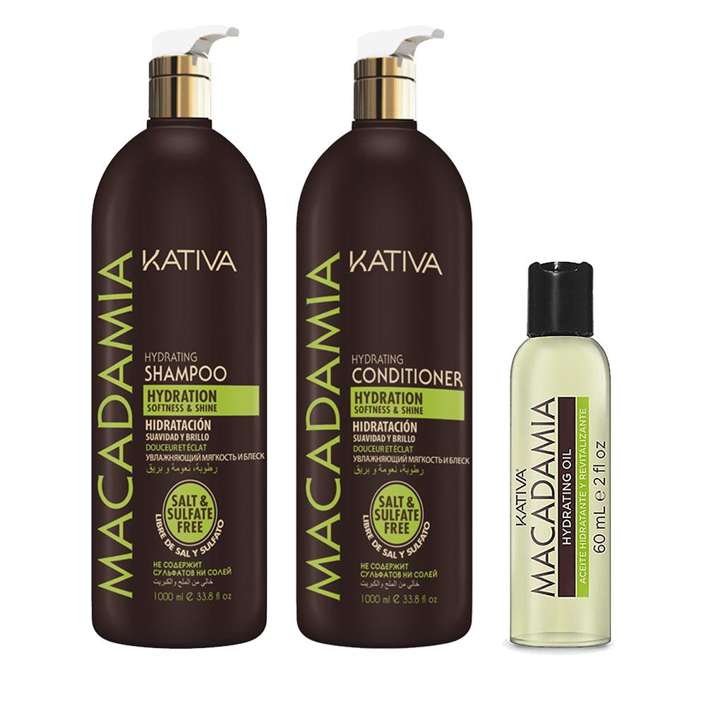 KATIVA - Macadamia - Shampooing 1L + Conditionneur 1L + Sérum 60 ml