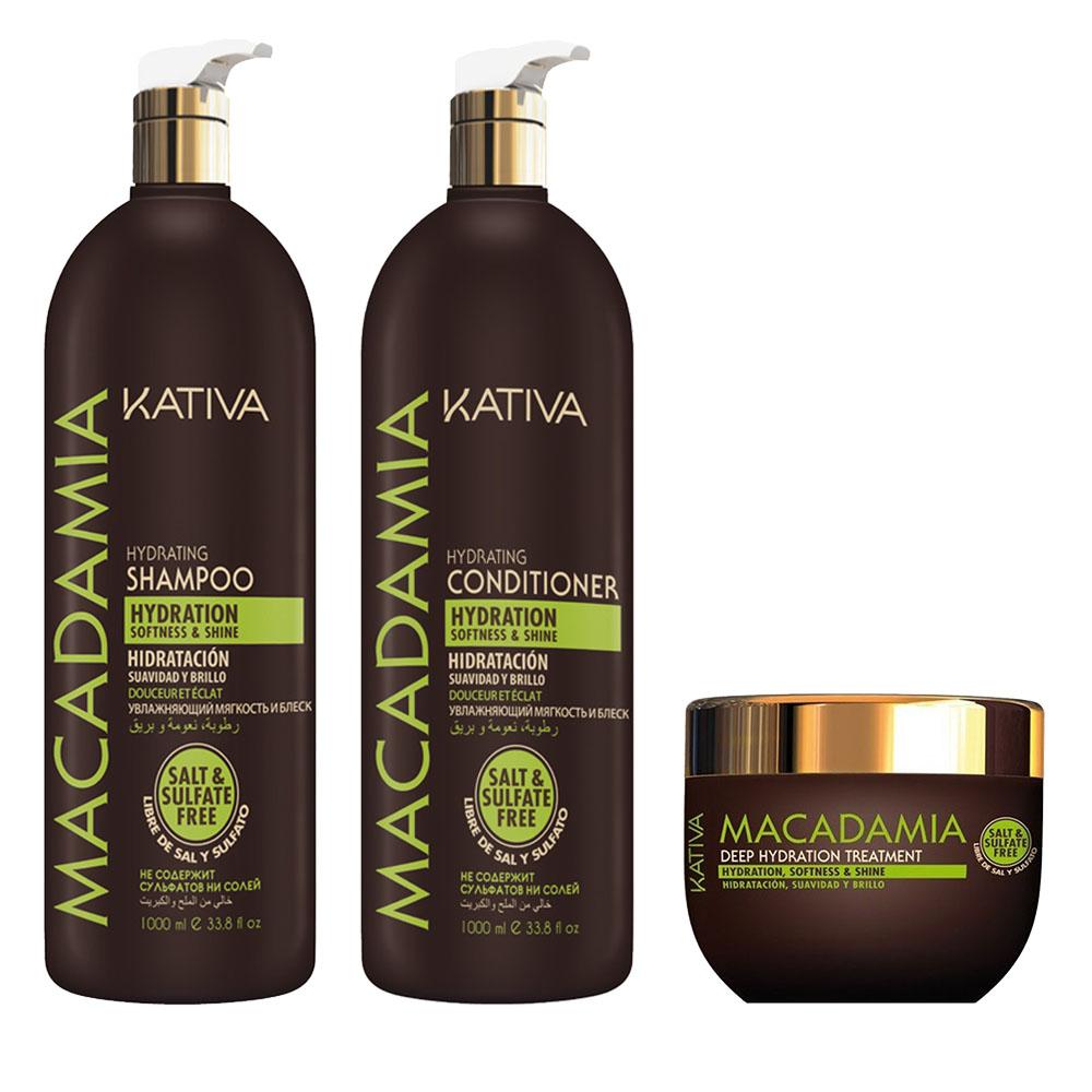 KATIVA - Macadamia - Shampooing 1L + Conditionneur 1L + Masque 250ml