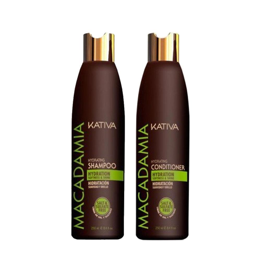 KATIVA - Macadamia - Shampoing + Conditionneur Hydratant - Souplesse et Brillance - 250ml