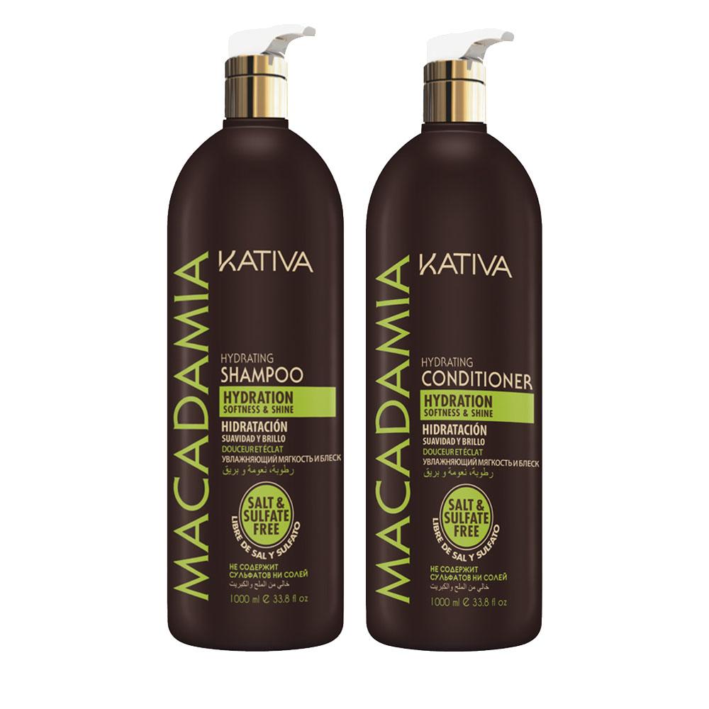 KATIVA - Macadamia - Shampoing + Conditionneur Hydratant - Souplesse et Brillance - 1000ml