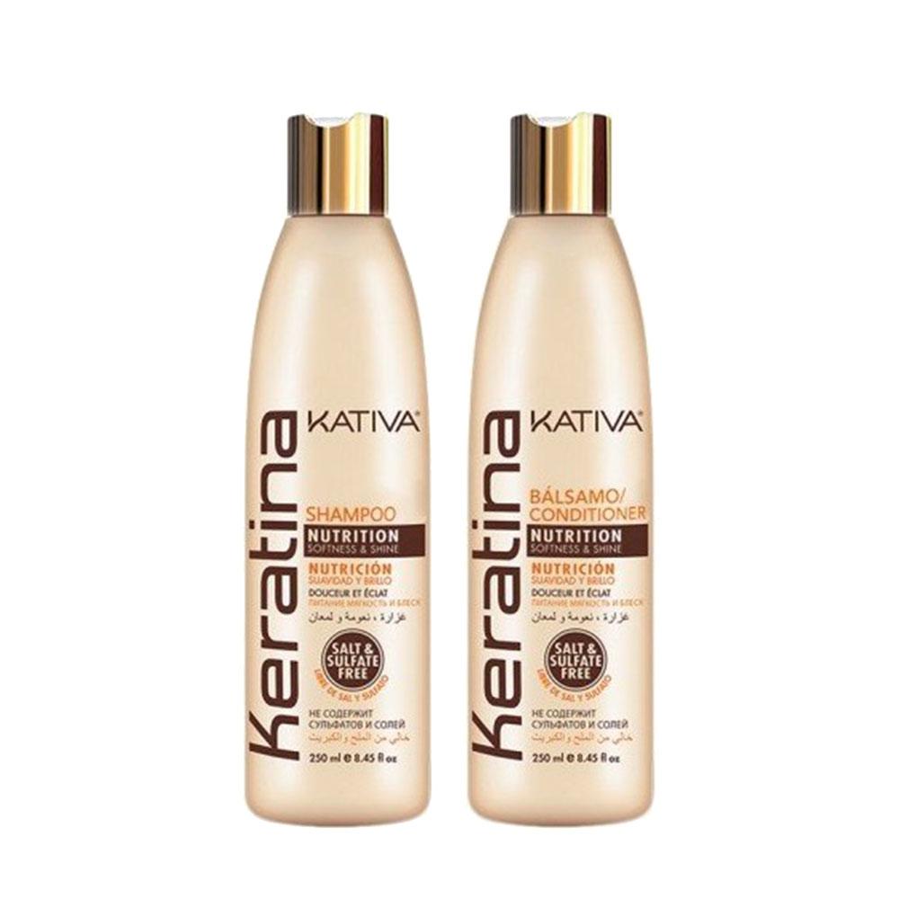 KATIVA - Keratina - Shampoing + Conditionneur Nourrissant - Souplesse et Brillance - 250ml