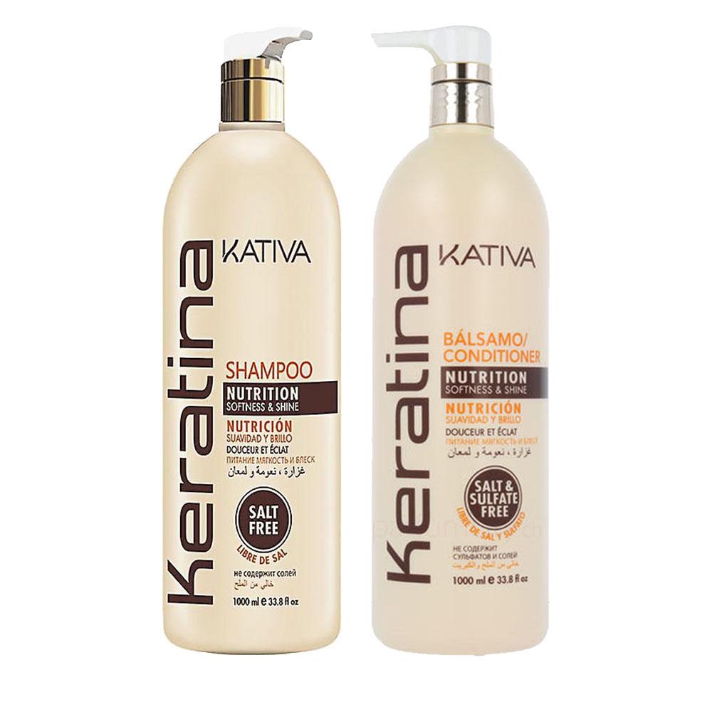 KATIVA - Keratina - Shampoing + Conditionneur Nourrissant - Souplesse et Brillance - 1000ml
