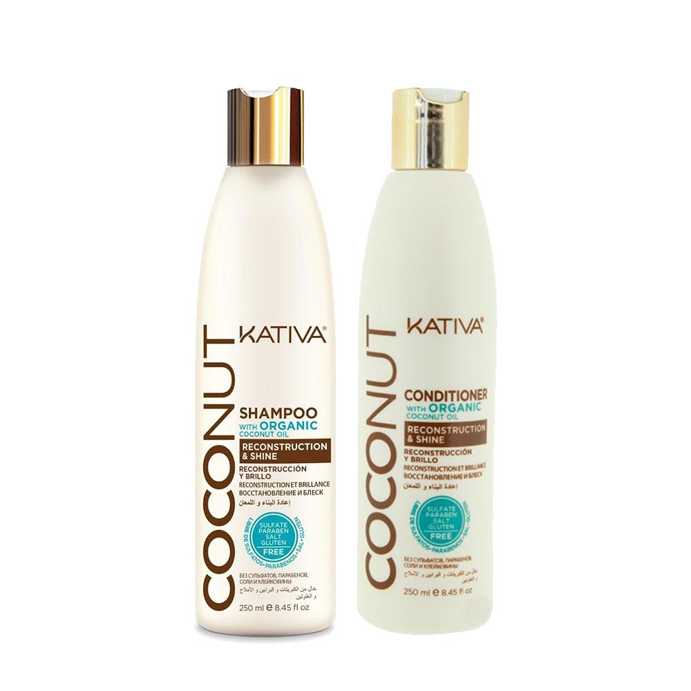 KATIVA - Coconut - Shampoing + Conditionneur Reconstructeur et Brillance - 250ml