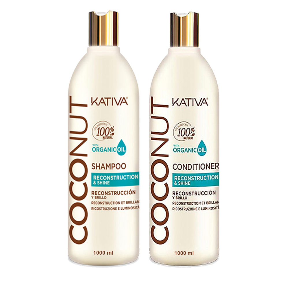 KATIVA - Coconut - Shampoing + Conditionneur Reconstructeur et Brillance - 1000ml