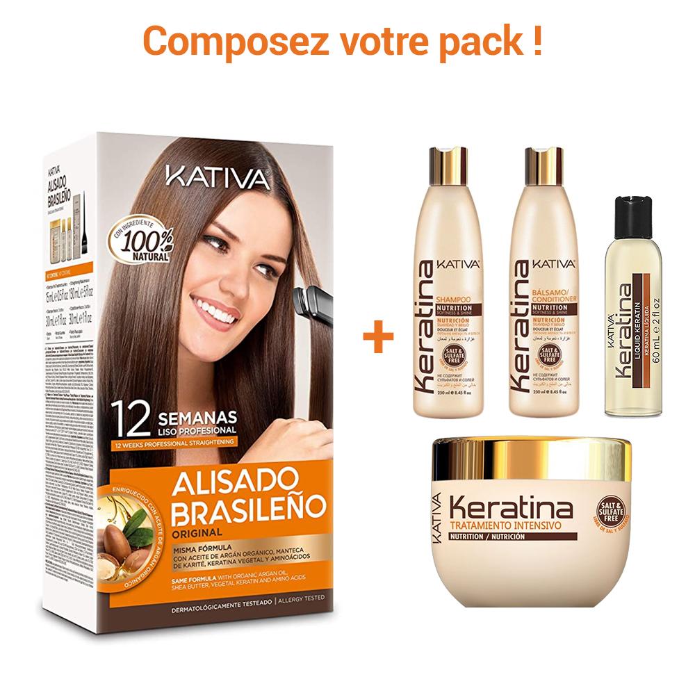Kativa - Pack de Lissage Brésilien + Entretien Lissage - Keratina