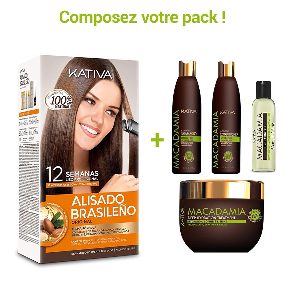 Kativa - Pack de Lissage Brésilien + Entretien Lissage - Macadamia