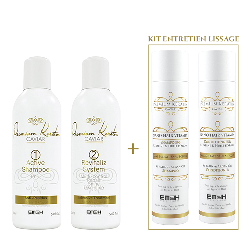 Premium Keratin Caviar - Kit Lissage - 2 x 150 ml + Kit Entretien Lissage 2 x 250 ml