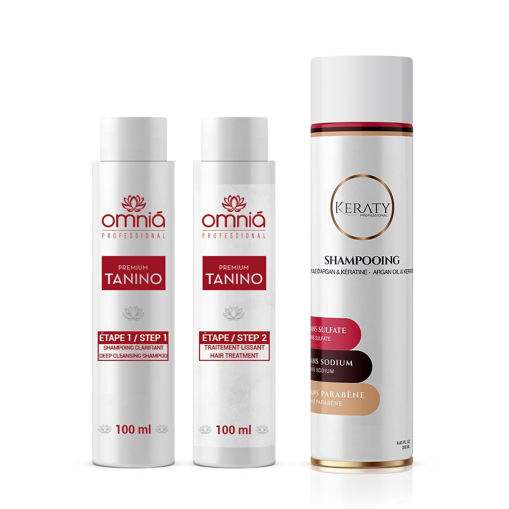 Omnia Professional - Lissage au Tanin - Kit 2 x 100 ml + 1 Shampoing Sans Sulfate 250 ml