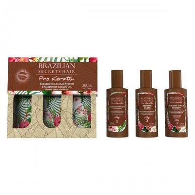3 x 120 ml - Kit Lissage Brésilien (Shampoing - Soin - Masque) - Brazilian Secrets Hair