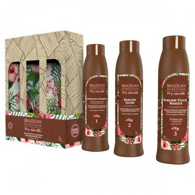 3 x 1000 ml - Kit Lissage Brésilien (Shampoing - Soin - Masque) - Brazilian Secrets Hair - Sans Formol