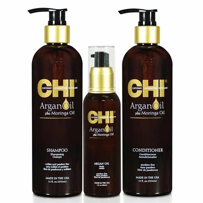 CHI - Kit Argan Oil - Shampoing 355ml + Conditionneur 355ml + Sérum 89ml