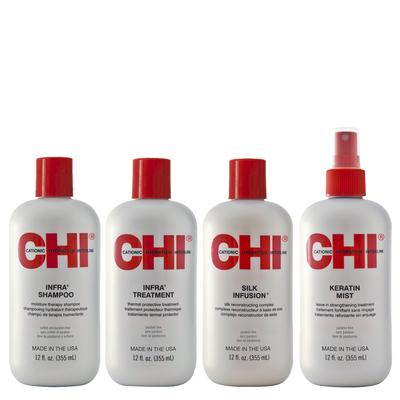 CHI INFRA - Kit Entretien Lissage - Shampoing et Après-Shampoing + Mist Keratin + 1 Soin  à base de Soie