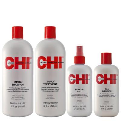 CHI INFRA - Kit Entretien Lissage - Shampoing et Après-Shampoing + Mist Keratin + 1 Soin Reconstructeur à base de Soie