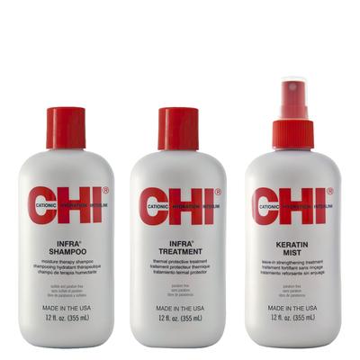 CHI INFRA - Kit Entretien Lissage - Shampoing et Après-Shampoing + Mist Keratin