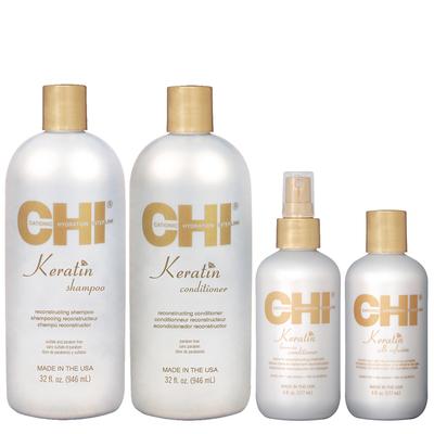 CHI KERATIN - Kit Entretien Lissage + 2 Soins Reconstructeur à la Kératine