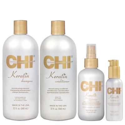 CHI KERATIN - Kit Entretien Lissage + 1 Soin Reconstructeur + 1 Traitement Lissant à la Kératine
