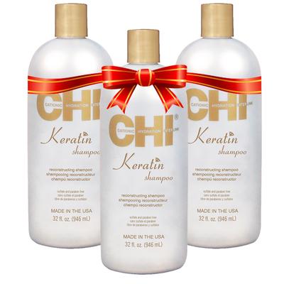 CHI - Kit Shampoing Reconstructeur à la Kératine  - Sans parabène / Sans Sulfate - 3 x 946 ml