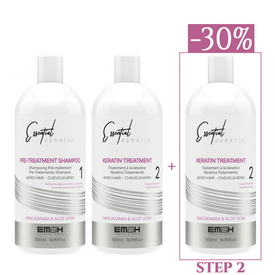 Essential Keratin - Kit Lissage - 3 x 500 ml - 1 x STEP 1 (500 ml) + 2 x STEP 2 (500 ml)