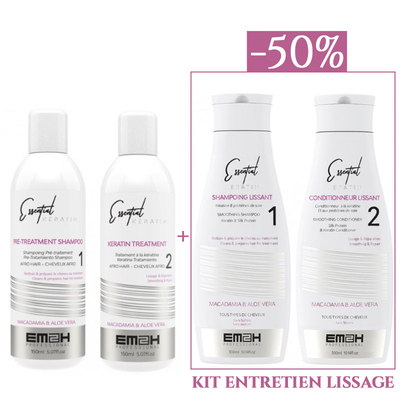 Essential Keratin - Kit Lissage - 2 x 150 ml + Kit Entretien Lissage 2 x 300 ml