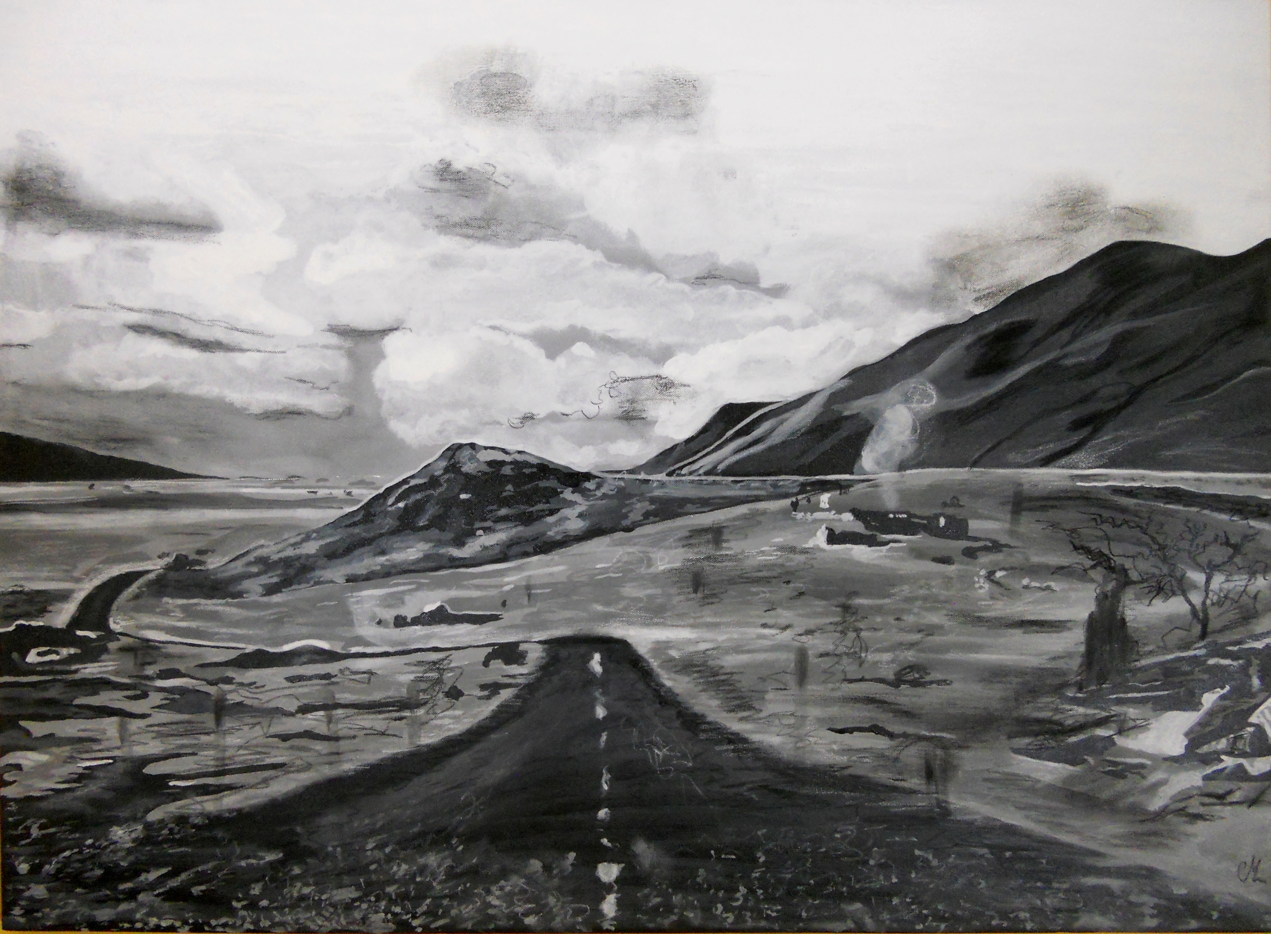 Contemporary black and white mountain landscape painting.