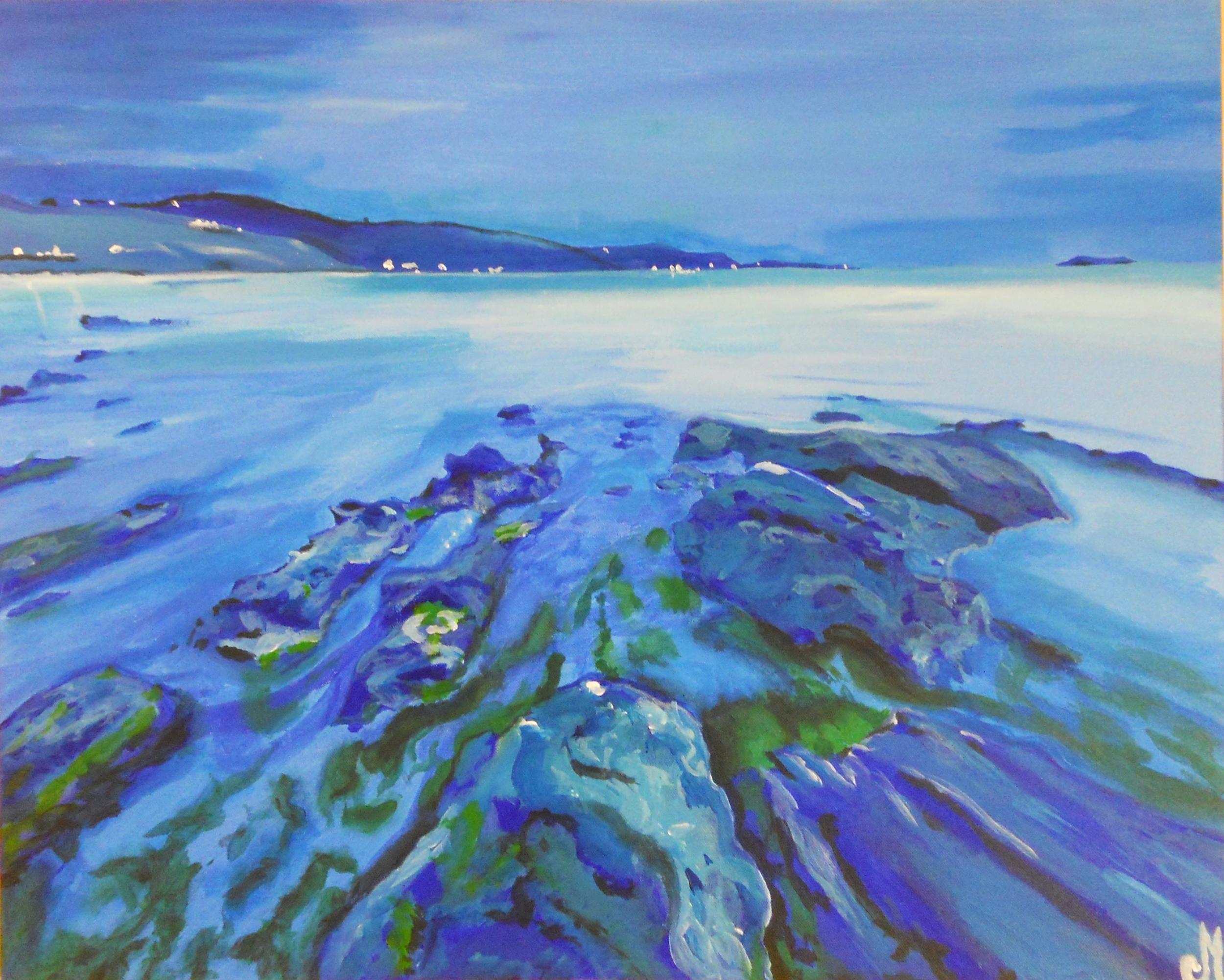 sea beach painting blue nebula, large format.