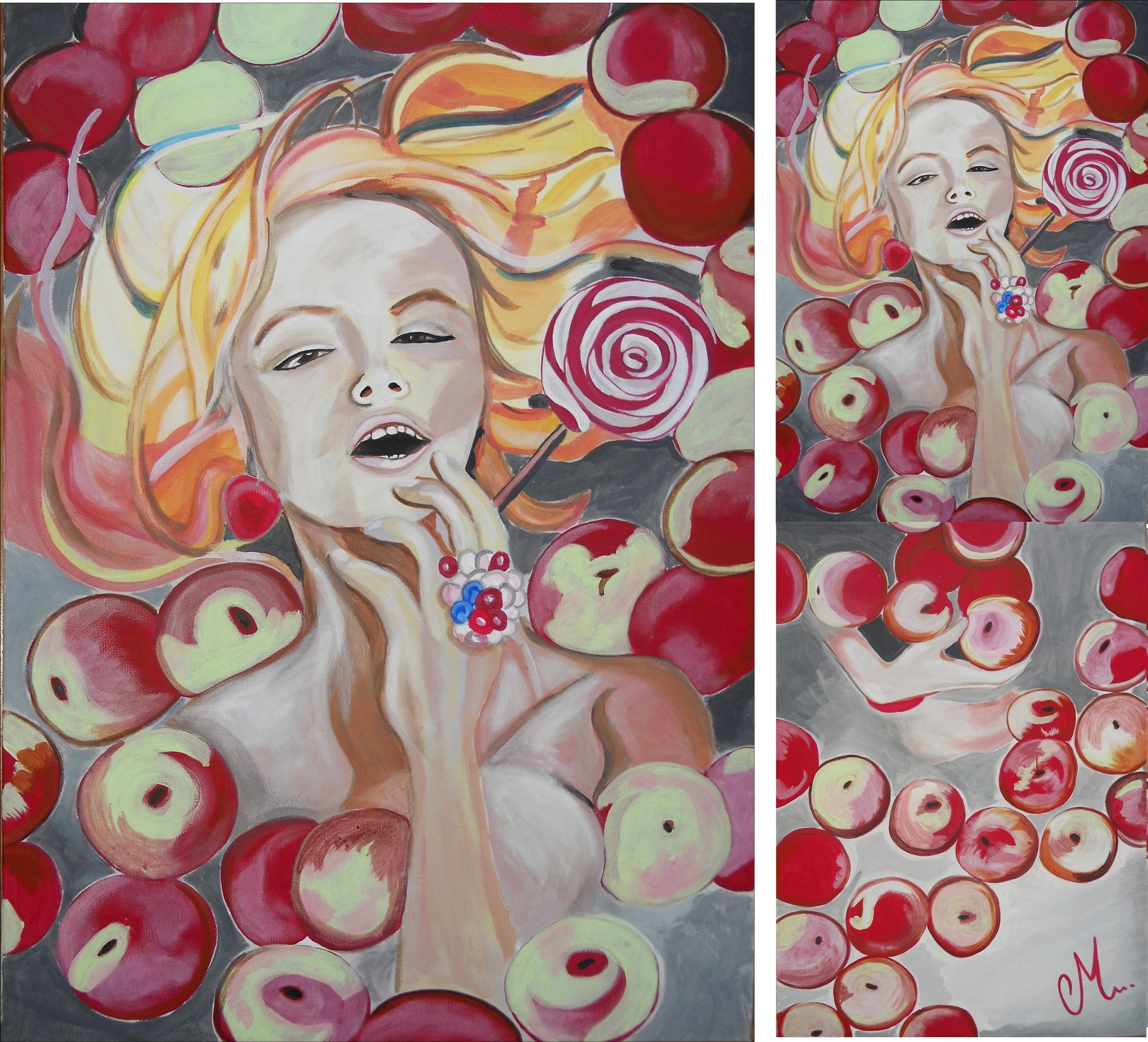 painting woman sweet candy or gluttony.