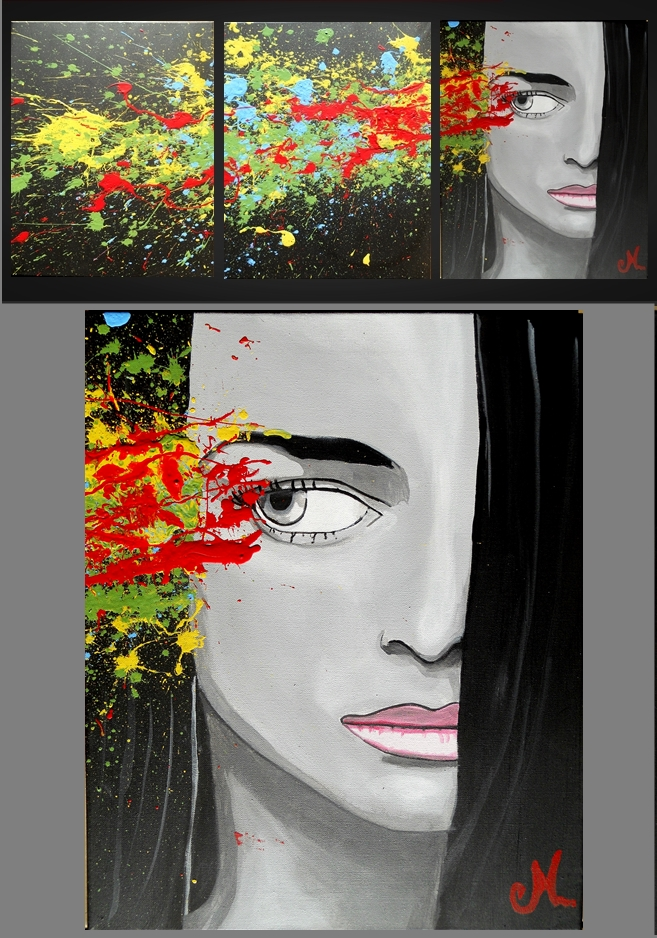 Painting contemporary triptych woman envy